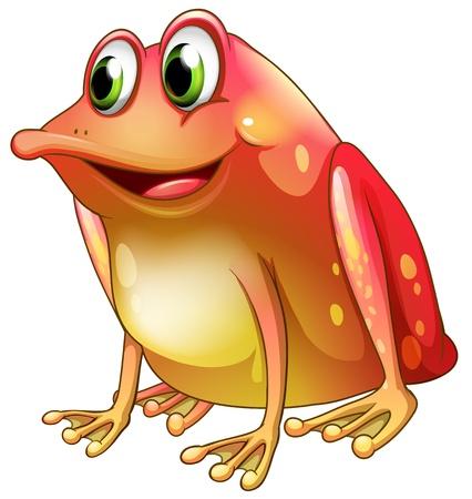 webbed: Illustration of an orange frog with green eyes on a white background Illustration