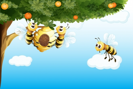 Illustration of the three bees with a beehive  Illustration