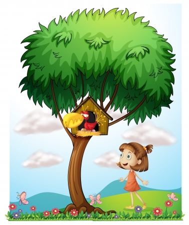 Illustration of a girl in the garden with a bird in a bird house Illustration