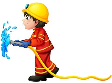 tűzoltó: Illusztráció egy tűzoltó kezében egy vizes tömlő, fehér alapon