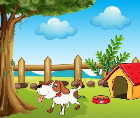 kennel: Illustration of a thirsty dog inside the fence Illustration