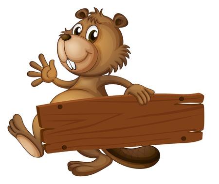 Illustratie van een bever die een houten bord op een witte achtergrond