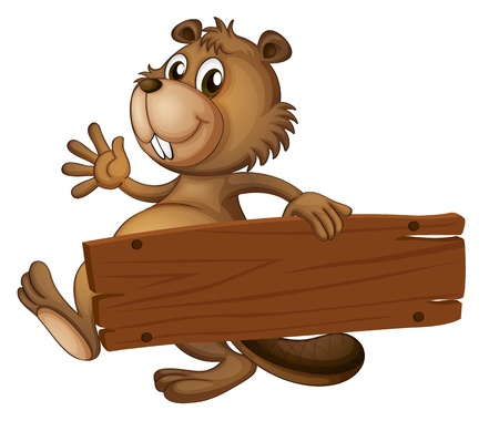 wooden signboard: Illustration of a beaver holding a wooden signboard on a white background