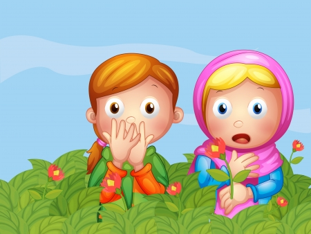 woman scarf: Illustration of the shocked faces of two ladies in the garden