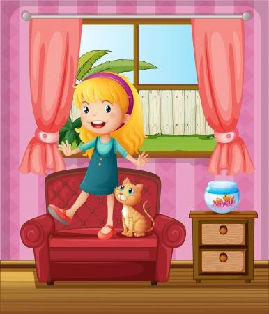 Illustratie van een meisje en een kat in een bank Vector Illustratie