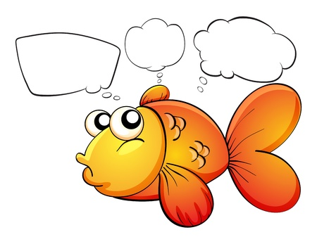 Illustration of a gold fish and the empty callouts on a white background Vector
