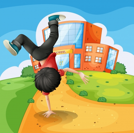 Illustration of a boy doing breakdance along the school Stock Vector - 18052882