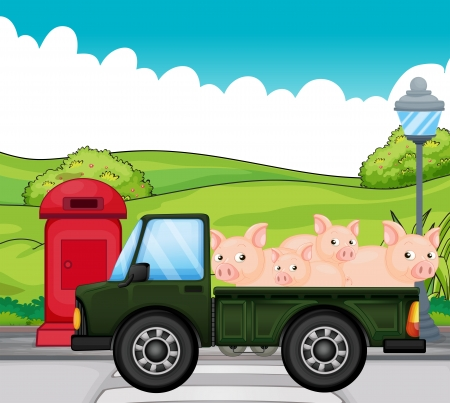 an animal: Illustration of a green vehicle with pigs at the back