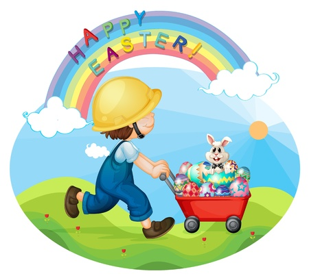 Illustration of a boy with a helmet pushing the eggs and the bunny on a white background Stock Vector - 18053272