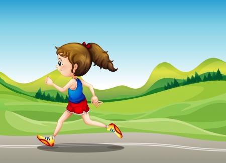 road runner: Illustration of the female runner