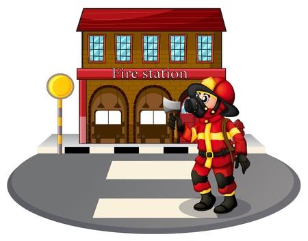 servicios publicos: Ilustración de un bombero en frente de la estación de bomberos en un fondo blanco Vectores