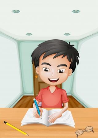 Illustratie van een jongen die een brief schrijft