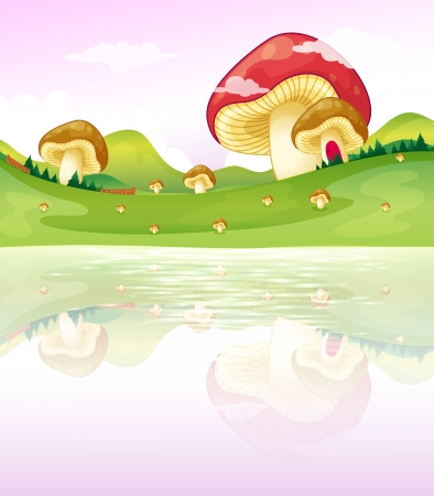 Illustration of the thmushrooms near the lake Vector