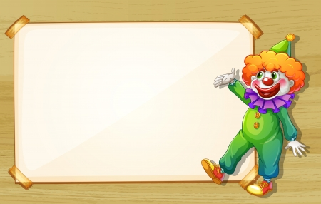 Illustration of a clown showing the empty board Vector