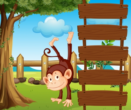 cheeky: Illustration of an ape beside the empty wooden signboards