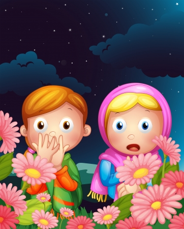 Illustration of two girls hiding in the middle of the night Vector