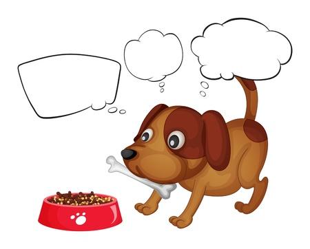 perro comiendo: Ilustración de un cachorro comiendo su alimento en un fondo blanco
