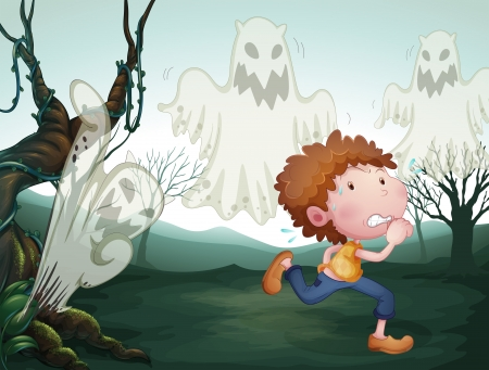 Illustration of the boy and the three ghost Vector
