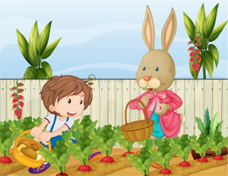 Illustration of the gardener and the bunny Vector