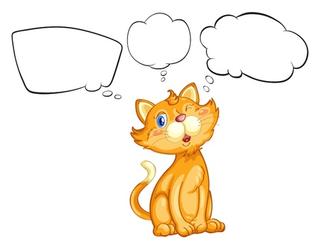 blinking: Illustration of a cat blinking his eye on a white background