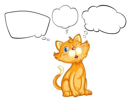 blinking: Ilustraci�n de un gato parpadeando sus ojos sobre un fondo blanco