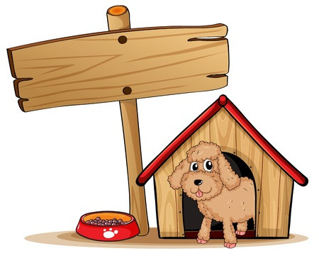 Illustration of a cute dog at his dog house on a white background Vector