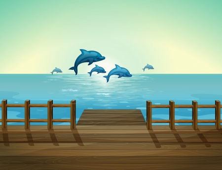 dolphin jumping: Illustration of the six dolphins diving