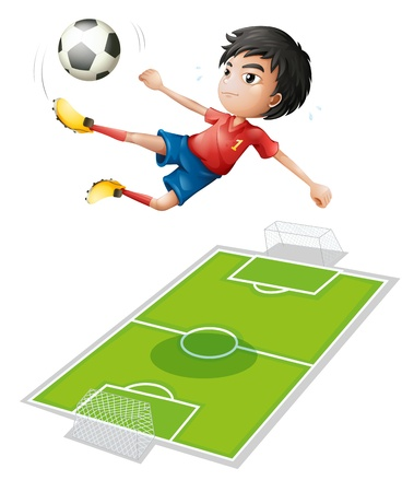 Illustration of a boy kicking the ball on a white background Stock Vector - 18053307
