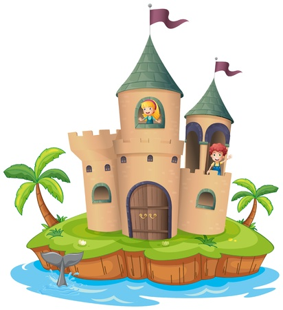 fantasy castle: Illustration of a castle in an island on a white background
