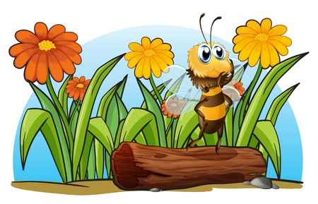 Illustration of a bee above a trunk on a white background Vector