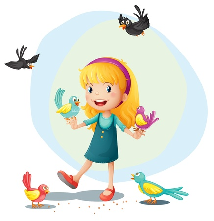 Illustration of a girl playing with the birds on a white background Vector