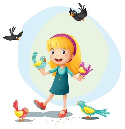 blackbird: Ilustracja dziewczyna bawi się z ptaków na białym tle