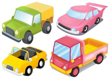 carritos de juguete: Ilustración de los cuatro vehículos de colores sobre un fondo blanco