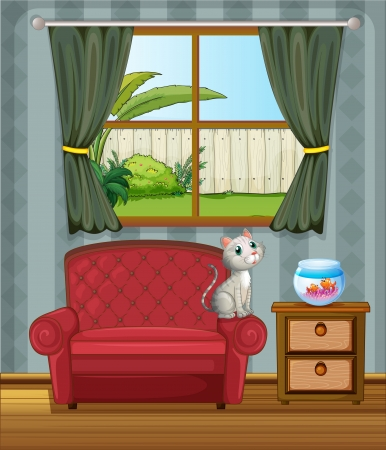 wooden window: Illustration of a cat in front of an aquarium Illustration