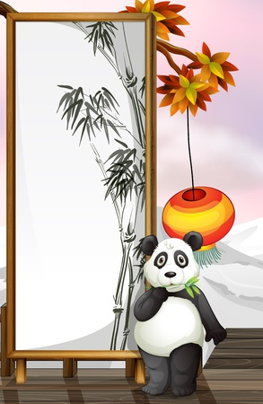 Illustration of a panda with a bamboo-designed frame Vector