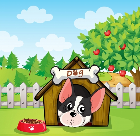 Illustration of a dog inside a dog house at a backyard with an apple tree Vector