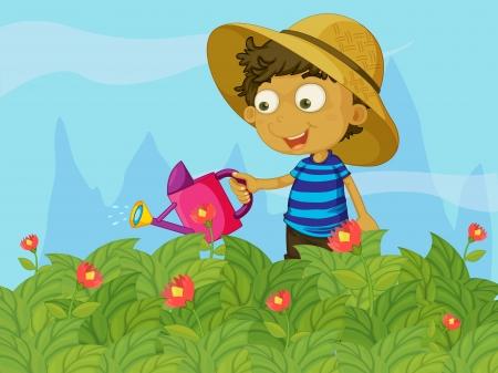 watering: Illustratie van een jongen het besproeien van de planten in een tuin Stock Illustratie