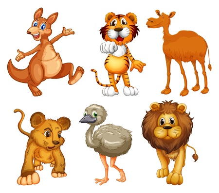 Illustration of a group of wild animals on a white background Vector