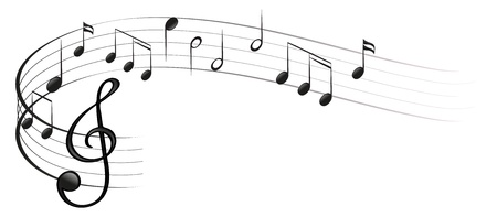 Illustration des symboles de la musique sur un fond blanc