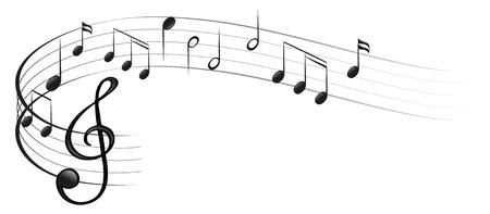 note musicali: Illustrazione dei simboli della musica su uno sfondo bianco Vettoriali