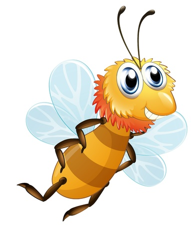 Illustration of a bee smiling on a white background Illustration