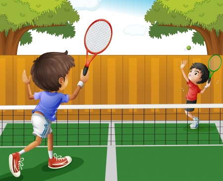 tennis court: Illustration of the two boys playing tennis