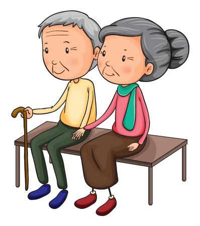 Ilustração de um velho casal em um fundo branco