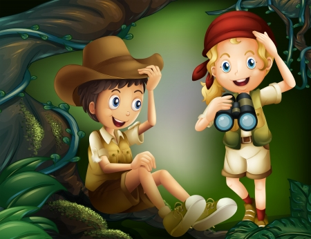 Illustration of a jungle with a boy and a girl Vector