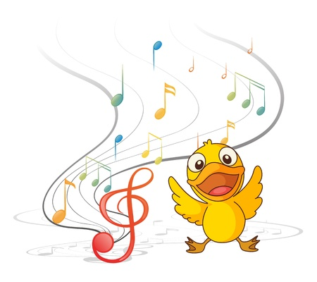 Illustration of the singing chick on a white background Vector