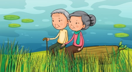 retire: Illustration of two old people sitting near the lake