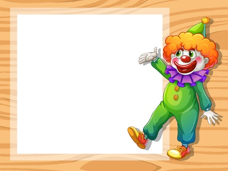 Illustration of a clown beside an empty white board Vector