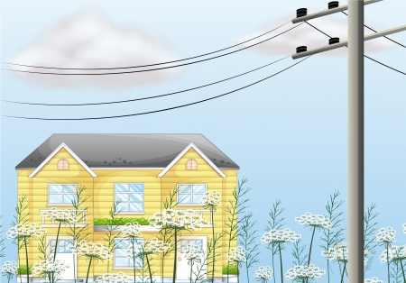 electricity pole: Illustration of a nice two-story house