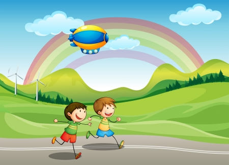 children running: Illustration of the kids running with an airship above