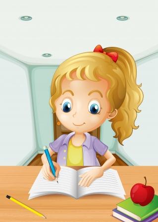 wooden work: Illustrazione di una ragazza con una mela in cima a un libro